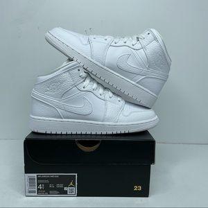 "Nike Air Jordan 1 Retro Mid GS ""Triple White"" NEW"